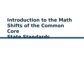 PD about Shifts in Common Core Math