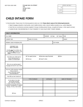 Child PDF and DOCX forms for Pediatric Private Practice in Speech Therapy