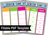PDF Fillable Form for Screen Time Tracking up to 3 Kids