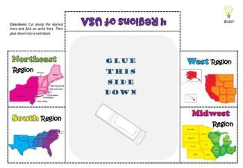 FREEBIE PDF Four Regions of USA Foldable 4 Large Windows