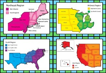 PDF Four Regions of USA Set/ Package with QR Codes