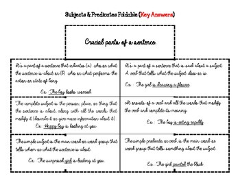 PDF Grammar Foldable - Subjects and Predicates (6 Large Windows)