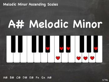PDF = Melodic Minor Ascending Scales (21x - some enharmonic) (piano chalkboard)