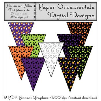 PDF Pennant Set - Halloween Polka Dots