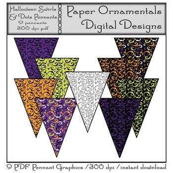 PDF Pennant Set - Halloween Swirls & Dots