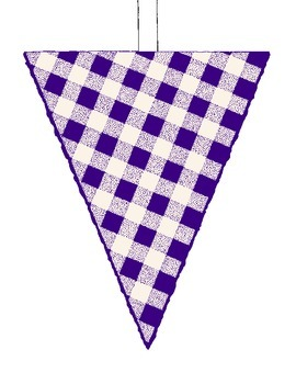 PDF Printable Color Blueberry Cherry Pie Gingham Flags Banner Bulletin Board