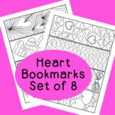 PDF Printable Heart Bookmarks Valentines Day Activity, Set of 8