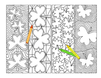 pdf printable shamrock bookmarks st patrick's day coloring activity