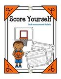 PDF Score Yourself Self-assessment Rubric Printable (Theme Basketball)