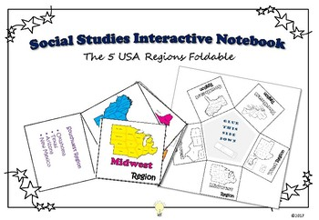 PDF Social Studies Interactive NB Five Regions of USA Foldable