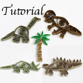PDF Tutorial for Paper Quilled Dinosaurs Craft Project