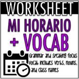 PDF WORKSHEET: Mi Horario