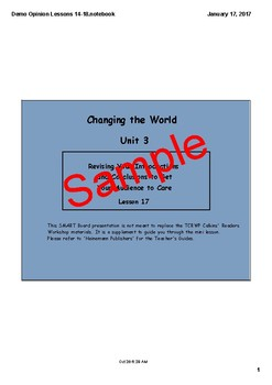 Writing Workshop Changing the World/Opinion Unit 3 Lessons 1-18 PDF