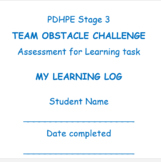 PDHPE learning log for primary students completing an obstacle challenge.
