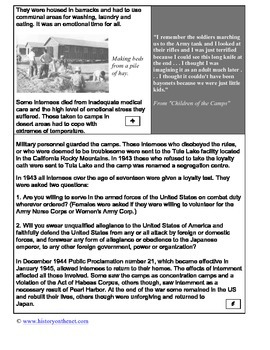 PDP Cornell Notes and Informational Text : Japanese Internment Camps