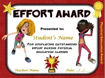 PE AWARDS- 15 Physical Education Certificates by Cap'n ...