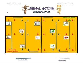 "PE Activities: ""Animal Action""-  25 Animal Movement Signs and Labyrinth Activity"