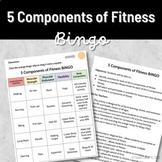 PE Activities - Digital 5 Components of Fitness Bingo Card