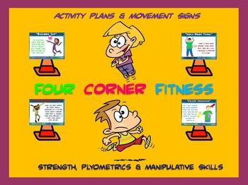 """PE  Activities: """"Four Corner Fitness""""- Strength, Plyometri"""