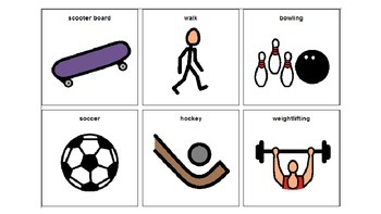 PE Activities Picture Cards