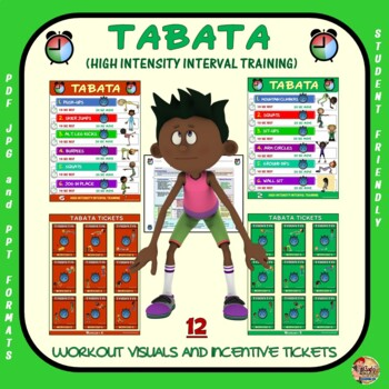 PE Activity: TABATA (High Intensity Interval Training)- 12 Visuals and Tickets