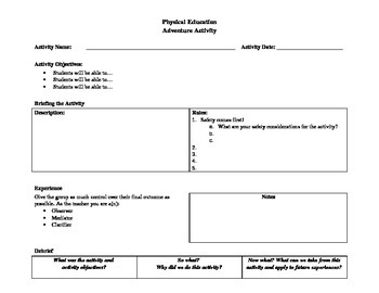 PE Adventure Activity Lesson Plan Template