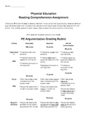 PE Argumentative Writing Assignment and Rubric