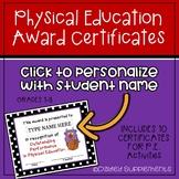 P.E. Award Certificates - Edit with student name - Printable