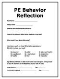 PE Behavior Reflection Sheet