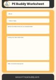 PE Buddy Student Worksheet - used with PE Buddy YouTube Vidoes
