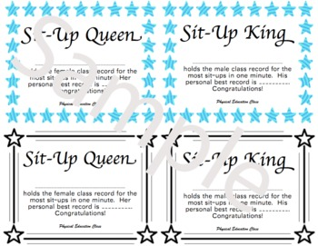 PE Certificate for Sit-Ups (Mini-Certificate prints 4 per page)