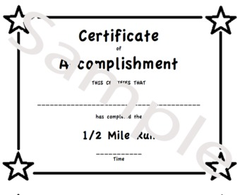 PE Certificate for the Half Mile Run (Mini Certificate prints 4 per page)