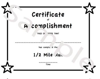 PE Certificate for the Half Mile Run (Mini Certificate pri