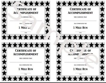 PE Certificate for the Mile Run