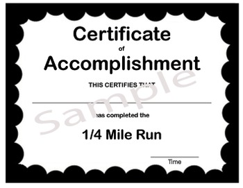 PE Certificate for the Quarter Mile Run (prints 4 per page)