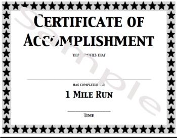 PE Certificate/Award for the Mile Run - full size