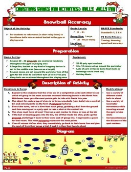 """PE Christmas Games and Activities-  """"Holly Jolly Fun"""""""