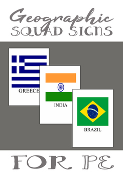 PE Country Flag Squad Signs