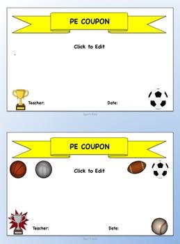 PE Coupons (K-8)