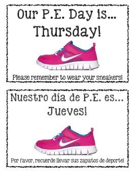 PE Day/Sneaker Reminder