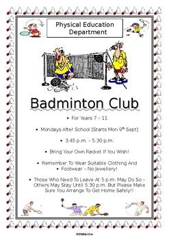 PE Dept - Badminton Club / Practice Poster