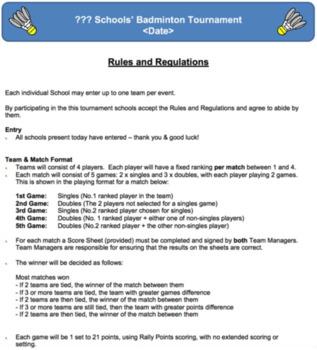 PE Dept - Badminton Schools' Tournament Organisers Pack