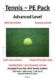 PE Dept - Tennis - Advanced Level Pack - 5 x Lesson Plans