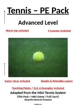 PE Dept - Tennis - Advanced Level Pack - 5 x Lesson Plans