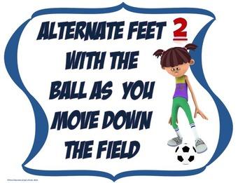 Dribbling, Kicking and Punting Skill Cues- PE Display Board