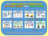 PE Educational Gymnastics Station Signs and Task Cards- 8