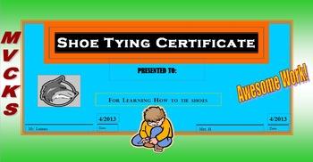PE Elementary Shoe Tying Certificate