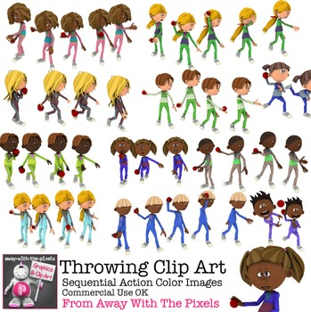 PE Fitness Clip Art - Kids Throwing Sequential Clip Art