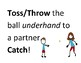 PE Flashcards, stations with a ball