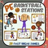 "PE Basketball Stations- 20 ""Fast Break"" Zones"